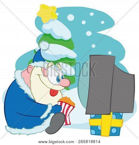 Santa Claus. Vector Illustration Of Santa Claus Watching Tv With Pop Corn