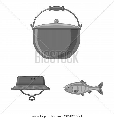 Isolated Object Of Fish And Fishing Sign. Collection Of Fish And Equipment Stock Symbol For Web.