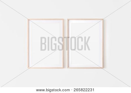 Set Of 2 Wooden Large 50x70, 20x28, A3, A4, Frame Mockup With Mat On White Wall. Poster Mockup. Clea