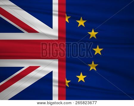 Brexit Referendum Uk. British Vote Leave. The Flag Of Uk & Eu. Vote For United Kingdom Exit Concept.