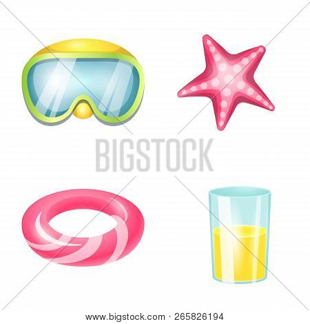 Isolated Object Of Equipment And Swimming Symbol. Collection Of Equipment And Activity Stock Vector
