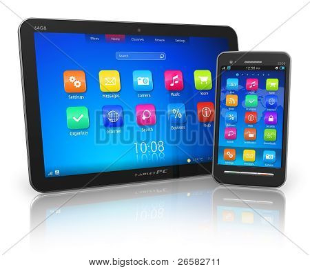 Black glossy tablet PC and touchscreen smartphone isolated on white reflective background poster