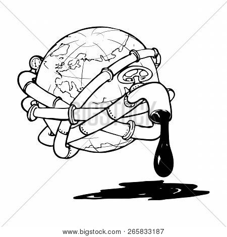 Globe entangled with oil pipelines. Illustration on the modern world vicious dependency on the fossil fuels. Sketch style drawing isolated on a white background. EPS10 vector illustration poster