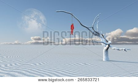 Surreal white desert. Man in red suit hanged on a dry tree. 3D rendering poster