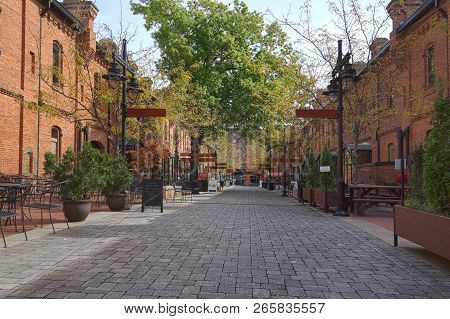 A Pedestrian Mall Of Retail Shops Converted From Old Tabacco Warehouses In Durham, Nc