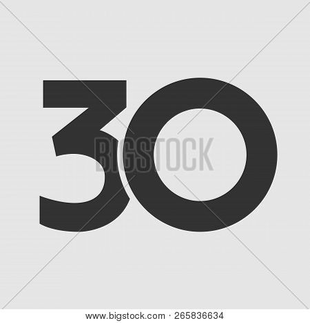 30 Th Years Old Logotype. Isolated Simple Abstract Graphic Symbol Of 30%. Straight Elegant Cut Numbe