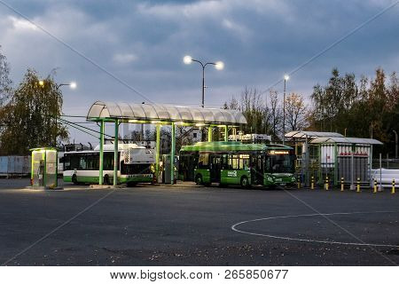Havirov, Czech Republic - October 22, 2018: Iveco Citelis And Urbanway Buses Refueling Cng At 3csad