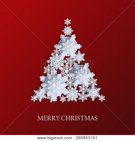 Abstract Background With Xmas Tree Made Of Volumetric Paper Snowflakes. White 3d Snowflakes With Sha