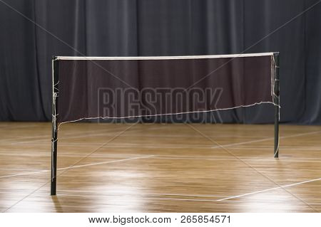 Wooden Floor Badminton Court And Nets. Wooden Floor Of Sports Hall With Marking Lines Line On Wooden