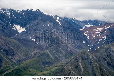 Aerial View - Rugged Remote Wilderness And Colorful Mountains Of Wrangell St Elias National Park In