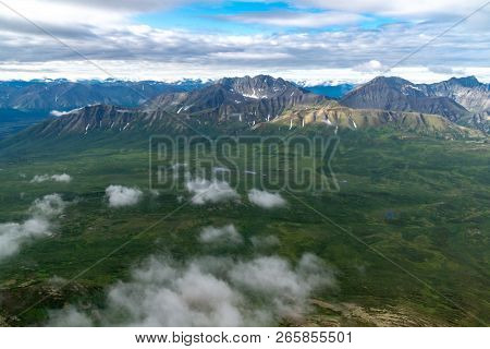 Beautiful Aerial View Of The Vast Wilderness And Mountains Of Wrangell St Elias National Park In Ala
