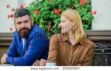 Find And Date Businessman. Couple In Love Sit Cafe Terrace Enjoy Coffee. Girl Dating With Businessma