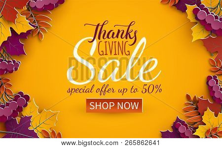 Thanksgiving Day Sale Banner Template. Autumn Paper Tree Leaves, Yellow Background. Autumnal Design