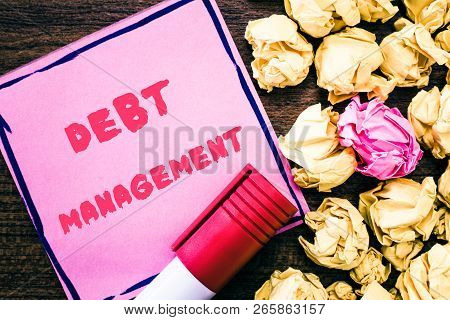 Handwriting text Debt Management. Concept meaning The formal agreement between a debtor and a creditor poster