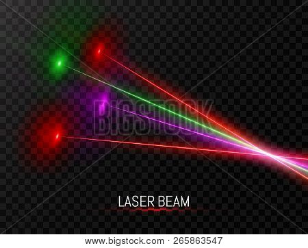 Laser Beam Collection. Colorful Laser Beam Set Isolated On Transparent Background. Neon Lines In Spe