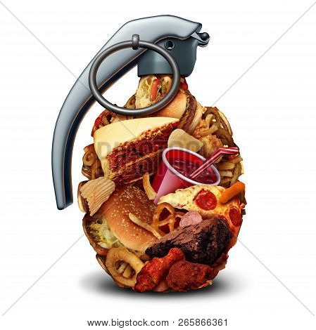 Unhealthy Diet Health Risk And Poor Nutrition Danger And High Blood Pressure Hazard Due To Eating Ju