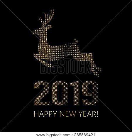 New Year 2019 Christmas Background. Gold Bright Disco Dots. Halftone Xmas Deer. Golden Reindeer Usin