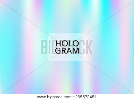 Princess Hologram Lights Vector Background. Soft Trendy Tender Pearlescent Rainbow Overlay. Cool Col