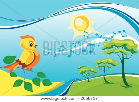 Landscape with a singing birdy on a branch in a sunny day poster
