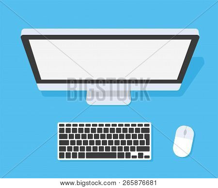 Work Desk From The Top. Computer Keyboard And Mouse. Flat Style - Stock Vector.