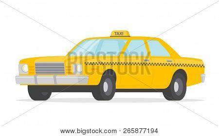 Yellow Taxi Car Flat Style - Stock Vector.
