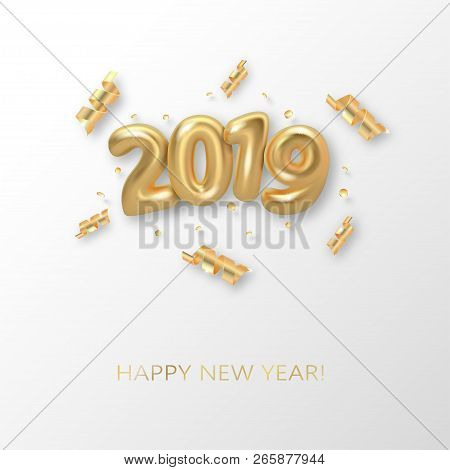 Happy New 2019 Year Background. Golden Metallic Numbers 2019 And Shining Confetti Particles And Ribb