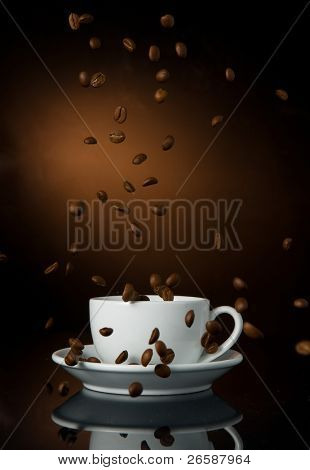 cup of coffe on color background