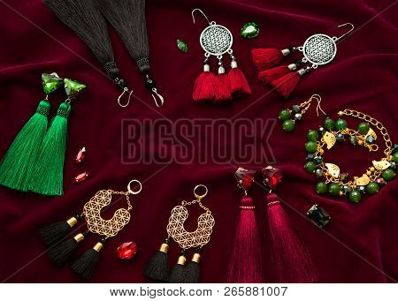 Handmade Set Of Green, Golden, Black, Silver And Vinous Bijouterie With Gems, Tassels, Cryslals And