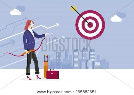 Archery And Business Woman. Business Woman Hitting Her Target. Concept Business Success Vector Illus