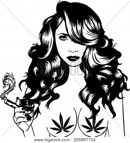 Smoking Weed Medical Marijuana Pot  African American Pretty Lady Classy Lady Diva Queen Power Strong