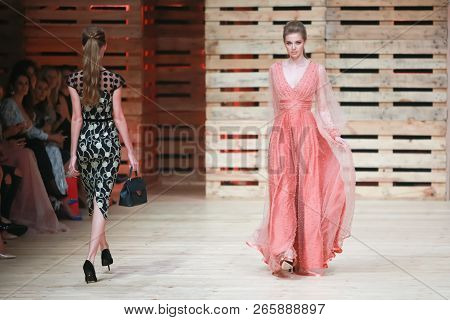Zagreb, Croatia - October 26, 2018 : Fashion Models Wearing Clothes For Autumn-winter, Designed By I