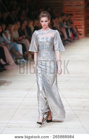 Zagreb, Croatia - October 26, 2018 : Fashion Model Wearing Clothes For Autumn-winter, Designed By Iv
