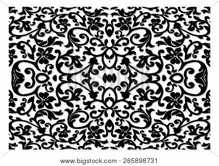 Luxurious Decor Floral Pattern, Wrought Iron Modules, Usable As Fences, Railings, Window Grilles Iso