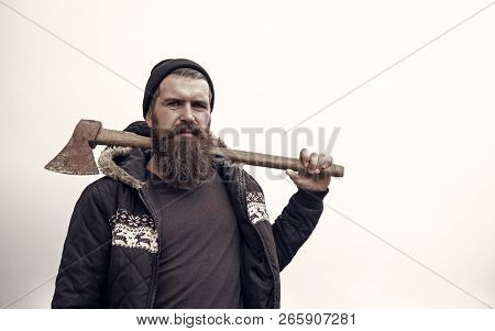 Bearded Man. Brutal Man With Long Beard. Handsome Man Hipster Or Guy With Beard And Moustache On Ser