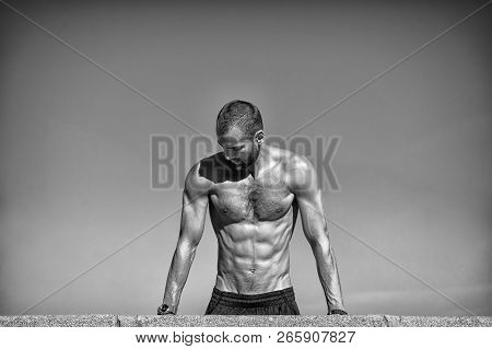 Im Sexy Cause I Am A Sportsman. Muscular Man Perform Sport Activities. Athletic Man With Muscular St