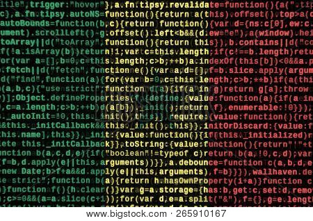 Senegal flag  is depicted on the screen with the program code. The concept of modern technology and site development poster