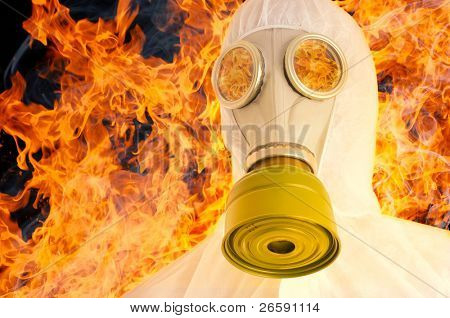 Man in gasmask. Isolated over white.