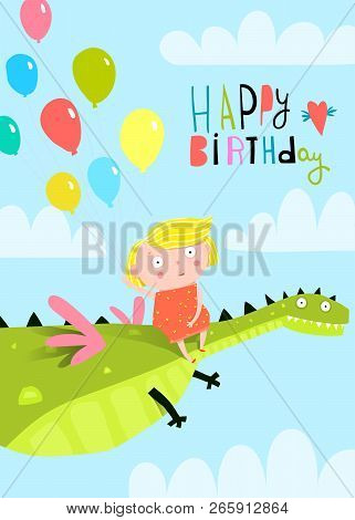 Little Girl Happy Birthday With Dinosaur And Balloons.