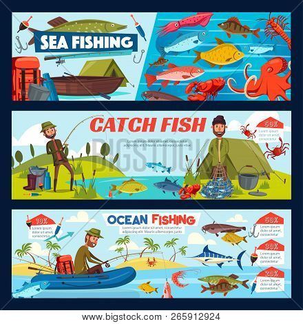 Fisherman Fishing With Rod And Net From Boat Or Shore. Bearded Man Fish Catch, Fishing Tackle And Eq