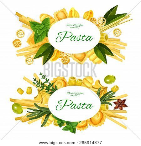 Italian Cuisine Pasta Vector Labels Of Fettuccine, Penne And Tagliatelle, Fusilli, Tortellini And Sp
