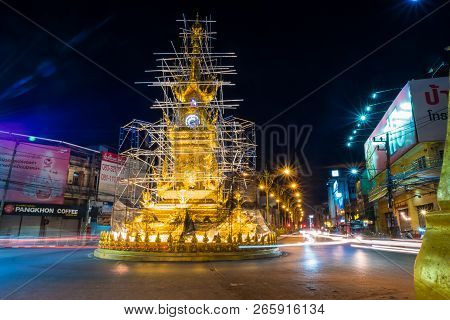 Chiangrai, Thailand - Setember 23 2018 : Golden Clock Tower , Built In Typical Thai Style Is Archite