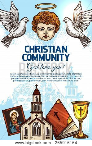 Christian Catholic Religion Holy Bible Book, Church Of God Jesus Christ And Cross, Angel With Halo,