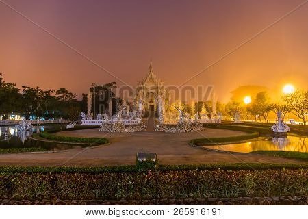 Beautiful And Amazing White Art Temple At Wat Rong Khun Chiang Rai, Thailand It Is A Tourist Destina