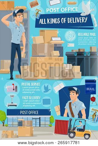 Post Office, Postal Service, Mail And Parcel Delivery. Cartoon Postman Or Mailman With Boxes And Pac
