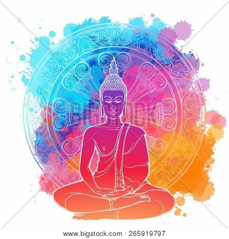 Buddha Meditating In The Single Lotus Position. Linear Drawing Isolated On A Bright Textured Waterco