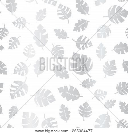 Silver Foil Leaves Seamless Vector Background. Metallic Scattered Leaf Pattern On White Elegant Back