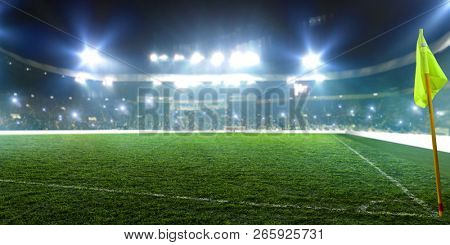 Football stadium, corner flag, shiny lights