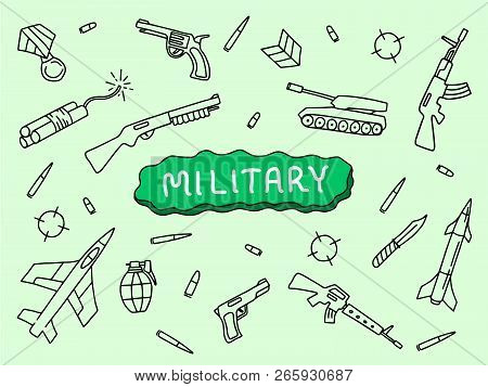 military doodle art hand sketch vector with tank riffle aircraft with banner text with green background vector illustration poster