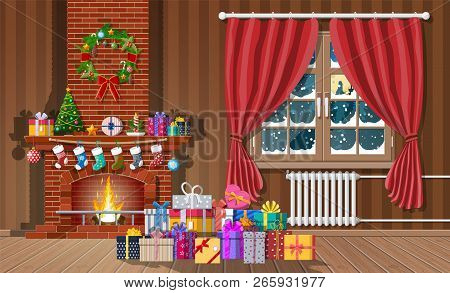 Christmas Interior Of Room With Window, Gifts And Decorated Fireplace. Happy New Year Decoration. Me