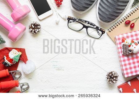 Flat Lay Of Merry Christmas And Happy New Year For Healthy And Active Lifestyle Concepts. Compositio